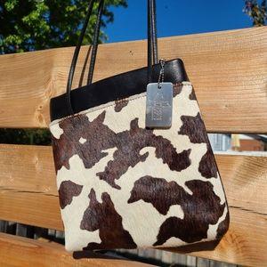 Vintage genuine leather cow print purse